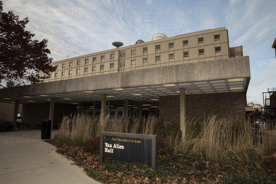 Van+Allen+Hall+is+seen+on+Monday%2C+November+18%2C+2019.+Van+Allen+is+the+home+of+the+physics+and+astronomy+department.