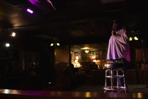 Aloe Mean delivers stand-up during the Comedy Showcase at the Mill on Friday, Nov. 1, 2019. As a part of Witching Hour, comedians joked about the 2020 presidential campaign, rich people, and getting married.