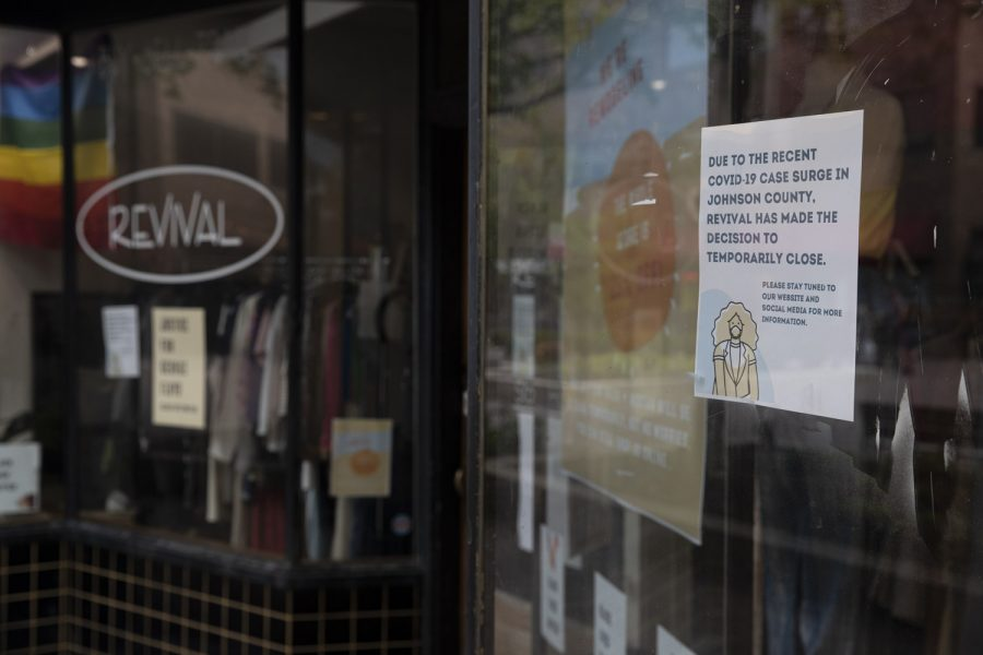 The front of the store Revival is seen on June 30 in Iowa City's Pedestrian Mall.