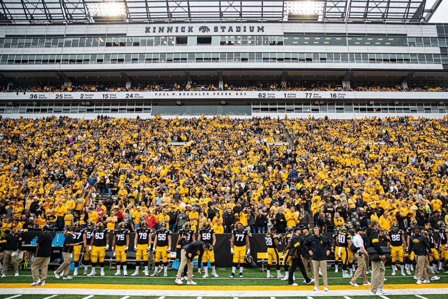 Spectators+watch+the+action+during+a+football+game+between+Iowa+and+Middle+Tennessee+State+at+Kinnick+Stadium+on+Saturday%2C+September+28%2C+2019.+The+Hawkeyes+defeated+the+Blue+Raiders%2C+48-3.