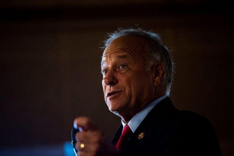 U.S. Rep. Steve King, R-Kiron, speaks to the Westside Conservative Club on Wednesday, Aug. 14, 2019, at The Machine Shed in Urbandale, Iowa.