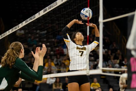 Iowa setter Brie Orr sets the ball during a volleyball match between Iowa and Michigan State at Carver Hawkeye Arena on Sunday, October 12, 2019. The Hawkeyes were defeated after 5 sets.
