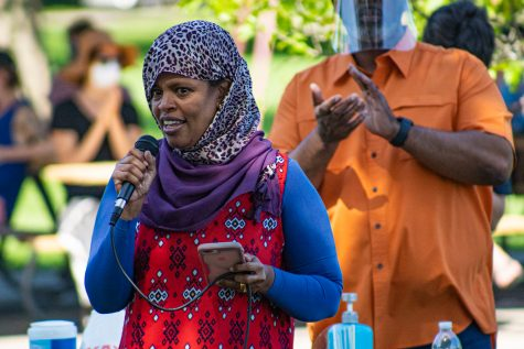 """Iowa City Mayor Pro Tem Mazahir Salih speaks during the final session of the """"Speak Up, Speak Out"""" series at Mercer Park on Saturday, June 6, 2020. Mayor Bruce Teague invited community members to voice their thoughts and frustrations."""