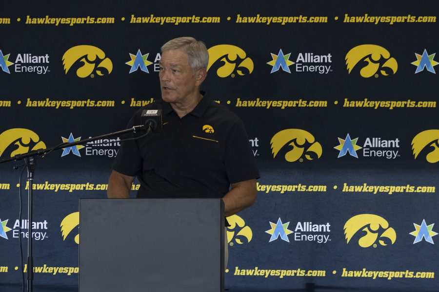 Iowa+head+coach+Kirk+Ferentz+speaks+at+a+press+conference+on+Thursday%2C+July+16%2C+2020+at+the+Pacha+Family+Club+Room+in+Kinnick+Stadium.+Ferentz+discussed+the+upcoming+football+season+and+the+continuing+actions+that+the+team+is+working+on+toward+strengthening+inclusivity+in+the+program.+%28Hannah+Kinson%2F+The+Daily+Iowan%29