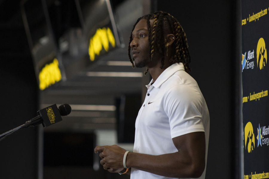 Iowa+wide+receiver+Brandon+Smith+speaks+at+a+press+conference+on+Thursday%2C+July+16%2C+2020+at+the+Pacha+Family+Club+Room+in+Kinnick+Stadium.+%22What+you+say+and+how+you+feel+is+valid%2C+and+will+be+heard%2C%22+said+Smith+when+discussing+inclusion+between+the+current+players+and+for+future+recruits+on+the+team.++%28Hannah+Kinson%2F+The+Daily+Iowan%29