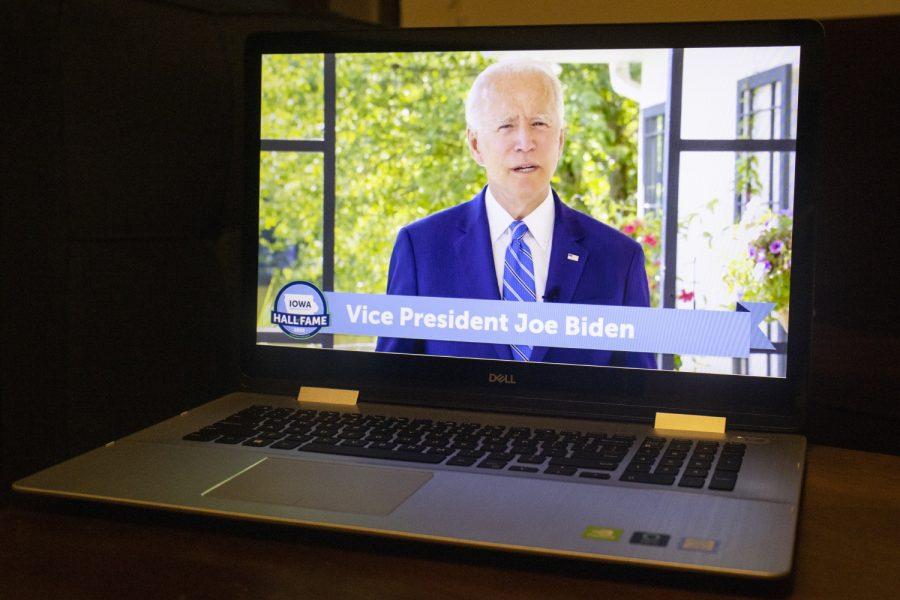 Former+Vice+President+Joe+Biden+speaks+at+the+Iowa+Democratic+2020+Hall+of+Fame+Celebration+on+Sunday%2C+July+26%2C+2020.+%28Hannah+Kinson%2FThe+Daily+Iowan%29
