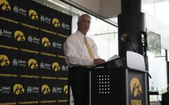 Iowa Athletic Director Gary Barta speaks at a press conference July 30.