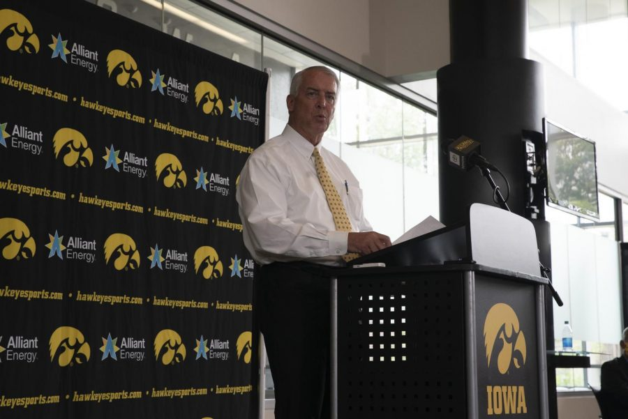 Iowa+Athletic+Director+Gary+Barta+speaks+at+a+press+conference+July+30.