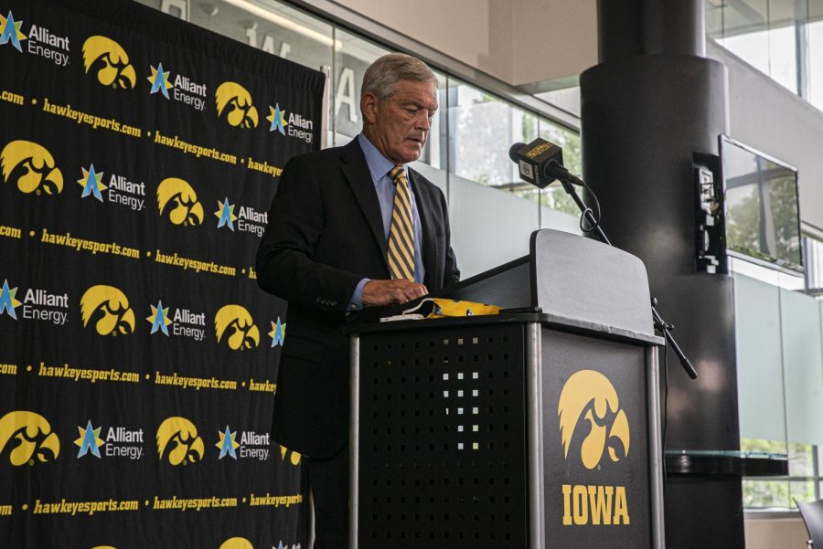 Iowa+head+football+coach+Kirk+Ferentz+speaks+at+a+press+conference+July+30.+Ferentz+discussed+the+findings+of+the+external+review+of+the+Iowa+football+program.