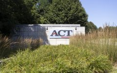 A sign for the ACT corporate office is seen on Monday, July 27, 2020 off of Scott Blvd. in Iowa City. (Hannah Kinson/The Daily Iowan)