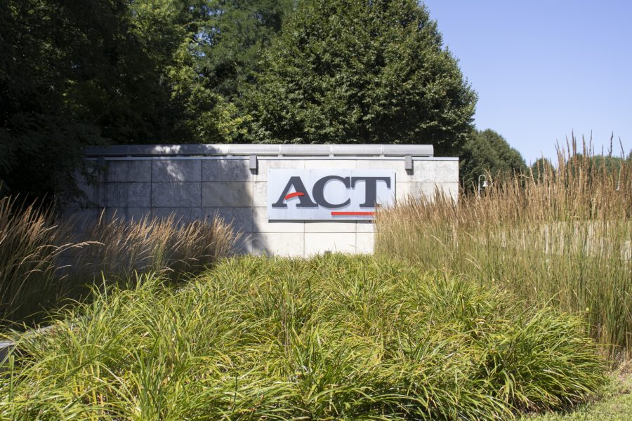 A+sign+for+the+ACT+corporate+office+is+seen+on+Monday%2C+July+27%2C+2020+off+of+Scott+Blvd.+in+Iowa+City.+%28Hannah+Kinson%2FThe+Daily+Iowan%29