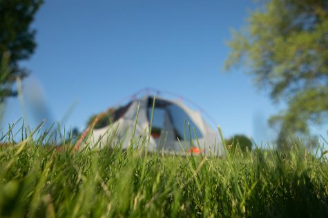 A tent sits along the Iowa River on June 10, 2019.