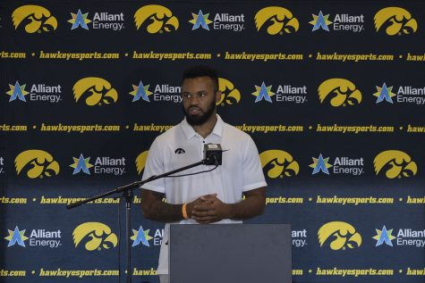 Iowa linebacker Djimon Colbert speaks at a press conference on Thursday, July 16, 2020 at the Pacha Family Club Room in Kinnick Stadium. Colbert answered questions regarding the current environment within the team and the growing communication between the players.