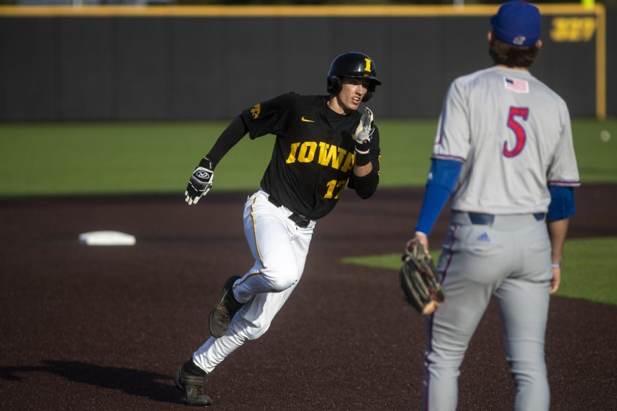 Iowa+infielder+Dylan+Nedved+rounds+the+bases+during+a+baseball+game+between+the+Iowa+Hawkeyes+and+the+Kansas+Jayhawks+on+Tuesday%2C+March+10%2C+at+Duane+Banks+Field.+The+Hawkeyes+defeated+the+Jayhawks%2C+8-0.