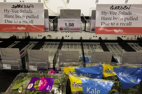 Empty produce shelf, after recall of Hy-Vee salads.As seen on Wednesday July 1,2020
