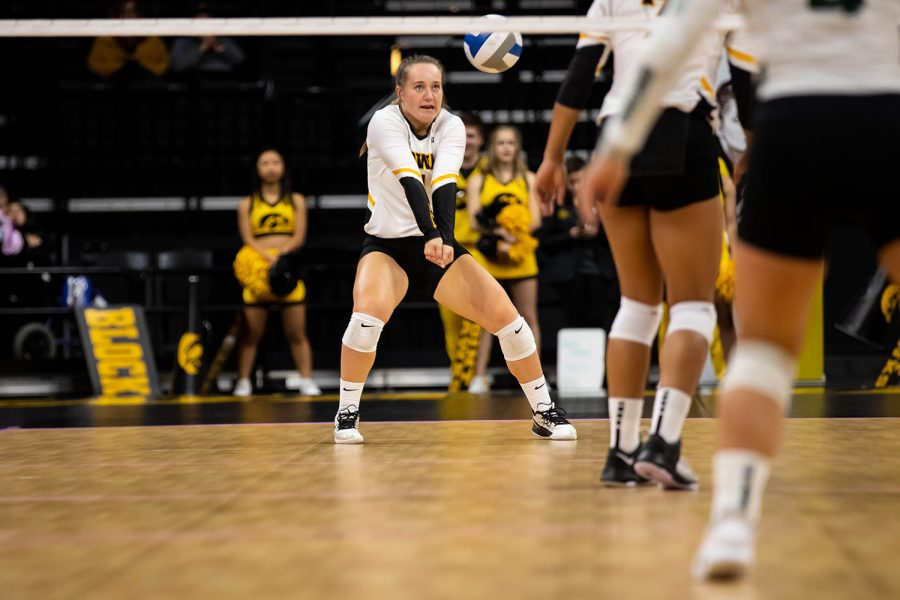 Iowa defensive specialist Joslyn Boyer bumps the ball during a volleyball match between Iowa and Michigan State at Carver Hawkeye Arena on Sunday, October 12, 2019. The Hawkeyes were defeated after 5 sets.