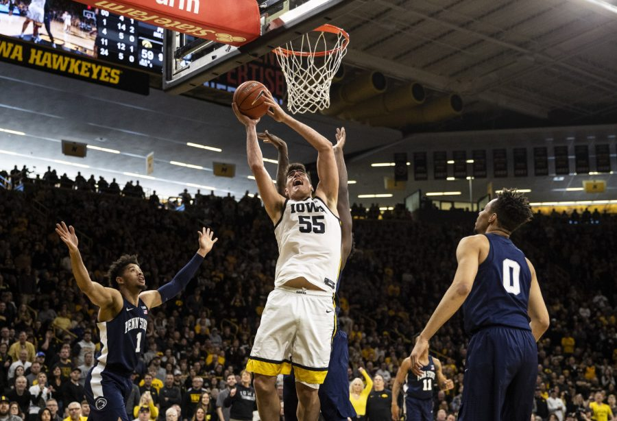 Iowa center Luka Garza goes in for a shot during a men's basketball game between Iowa and Penn State on Saturday, Feb. 29 at Carver-Hawkeye Arena. The Hawkeyes defeated the Nittany Lions 77-68. (Nichole Harris/The Daily Iowan)