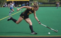 Iowa midfielder Nikki Freeman runs with the ball during a field hockey game between Iowa and Duke at Grant Field on Sunday, September 15, 2019. The Hawkeyes were defeated by the Blue Devils, 2-1 after two overtime periods.