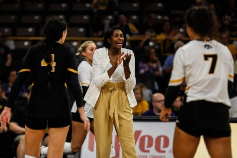 Iowa interim head coach Vicki Brown instructs her players during a volleyball match between Iowa and Washington at Carver Hawkeye Arena on Saturday, September 7, 2019.