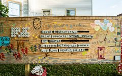 The Witness Wall is seen in front of Public Space One in Iowa City on Monday, July 6, 2020. The Witness Wall is a decorative plywood wall that serves as a response to COVID-19 and recent events.