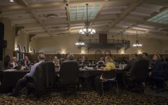 Board members listen during the Board of Regents meeting on September 12, 2018 in the IMU Main Lounge. Regents members discussed remodeling various buildings and sights across various Iowa campuses.