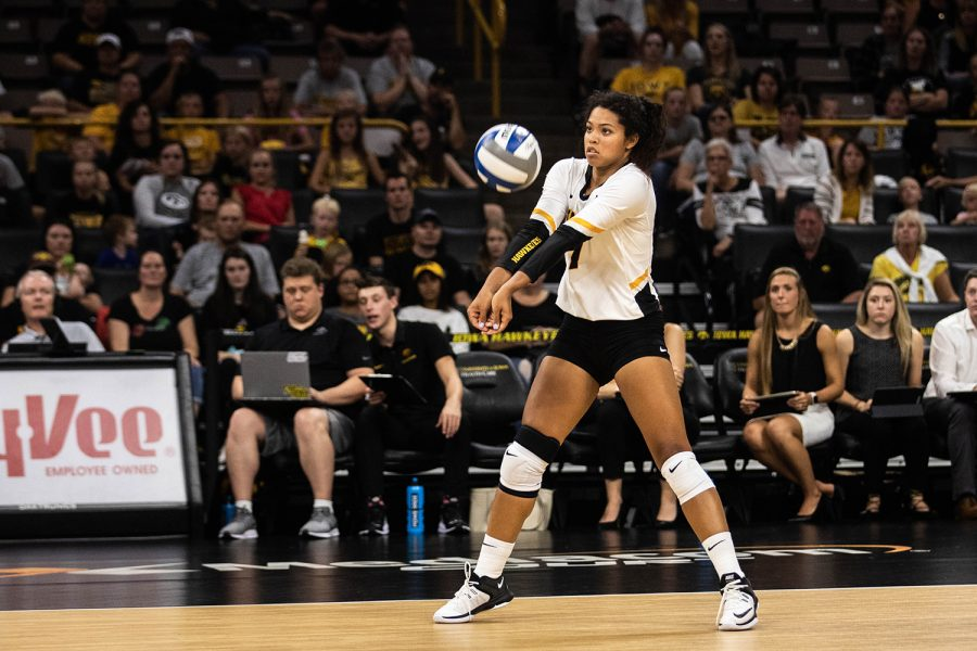 Iowa setter Brie Orr returns a serve during a volleyball match between Iowa and Washington at Carver Hawkeye Arena on Saturday, September 7, 2019. The Hawkeyes were defeated by the Huskies, 3-1.