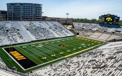 Kinnick Stadium is seen fom the north end zone at Iowa Football Media Day on Friday, August 9, 2019.
