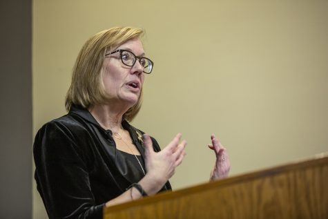 Candidate for the role of Vice President of Student Life Sarah Hansen speaks during a forum at the IMU on Feb. 4, 2020. Hansen graduated from the University of Iowa with a Bachelor of Arts in Education and a Masters in Arts in Sociology.