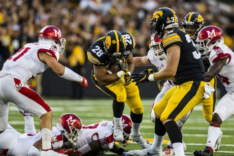 Iowa running back Toren Young runs the ball during the Iowa football game against Miami (Ohio) at Kinnick Stadium on Saturday, August 31, 2019. The Hawkeyes defeated the Redhawks 38-14.