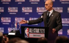 NBA Commissioner Adam Silver talks during events at NBA All-Star weekend on Feb. 15, 2020, at the United Center in Chicago. Silver said Wednesday that the NBA protocols are working, as no coronavirus tests on players have returned positive results over the last nine days. (Chris Sweda/Chicago Tribune/TNS)