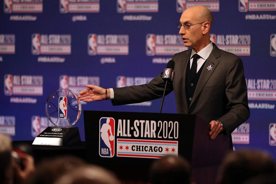 NBA+Commissioner+Adam+Silver+talks+during+events+at+NBA+All-Star+weekend+on+Feb.+15%2C+2020%2C+at+the+United+Center+in+Chicago.+Silver+said+Wednesday+that+the+NBA+protocols+are+working%2C+as+no+coronavirus+tests+on+players+have+returned+positive+results+over+the+last+nine+days.+%28Chris+Sweda%2FChicago+Tribune%2FTNS%29