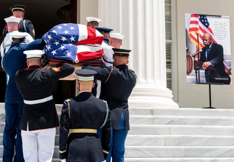 The casket carrying civil rights icon and U.S. Congressman John Lewis arrives at the Alabama State Capitol in Montgomery, Ala., on Sunday July 26, 2020.