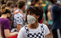 Iowa State senior, Jo Allen, participates in a protest in Des Moines, IA. Contributed by Jo Allen.