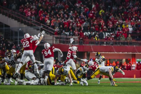 Iowa kicker Keith Duncan kicks the ball during the football game against Nebraska at Memorial Stadium on Friday, November 29, 2019. The Hawkeyes defeated the Cornhuskers 27-24. Duncan