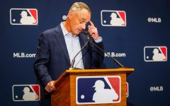 Major League Baseball commissioner Rob Manfred addresses reporters during MLB Media Day activities on Tuesday, Feb. 18, 2020, in Scottsdale, Ariz.