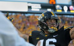 Iowa tight end George Kittle celebrates a touchdown during the Iowa-Iowa State game at Kinnick on Saturday, Sept. 10, 2016. Iowa head Iowa State to one field goal to defeated them, 42-3.