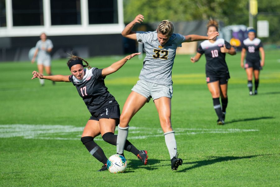 Iowa forward Gianna Gourley fights for possession during Iowa's match against Illinois State on Sunday, September 1, 2019. The Hawkeyes defeated the Red Birds 4-3.