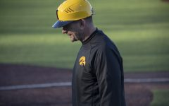 Coach Rick Heller takes the field during the game against Bradley on March 26, 2019 at Duane Banks Field. The Hawks took the victory, 4-2.