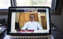 University of Iowa freshman, Julian Wemmie sits down for a Zoom interview from his home on Tuesday, July 28, 2020. Due to health concerns regarding the Coronavirus, the university is changing procedure in ways that encourage some students to do the entire semester virtually.