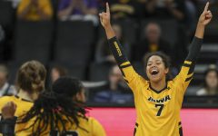 Iowa setter Brie Orr celebrates a point during the Iowa volleyball game against Indiana at Carver Hawkeye Arena on Sunday, Oct. 20, 2019. The Hawkeyes defeated the Hoosiers 3-1.