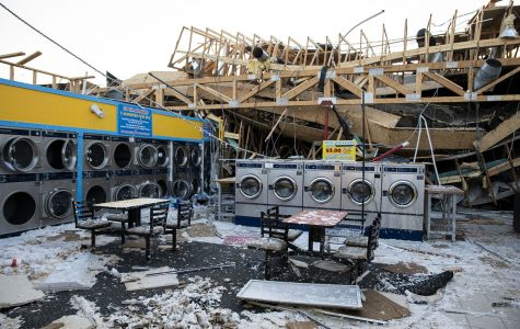 The inside of what is left of the laundromat, as seen on Friday, Aug. 14, 2020.