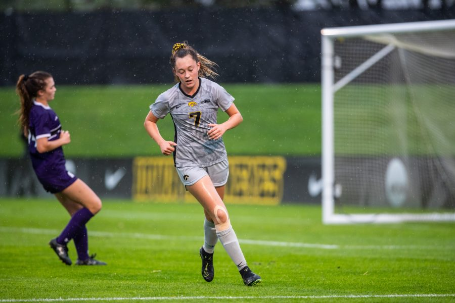 Iowa Forward Skylar Alward retreats during the Iowa Women's Soccer game versus Northwestern at the Hawkeye Soccer Complex in Iowa City on Sunday, September 29, 2019. The Wildcats defeated the Hawkeyes 2-1 in overtime.