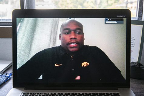 Executive Director of Diversity, Equity, and Inclusion for UI Athletics, Broderick Binns, sits down for an interview over Zoom on Tuesday, August 25, 2020.