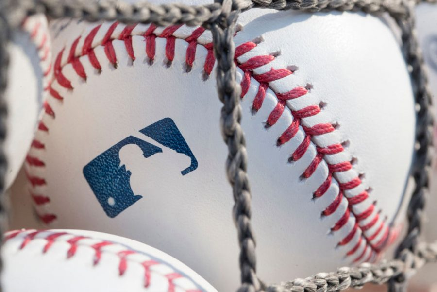 A baseball with MLB logo is seen at Citizens Bank Park before a game between the Washington Nationals and Philadelphia Phillies on June 28, 2018 in Philadelphia, Pa.