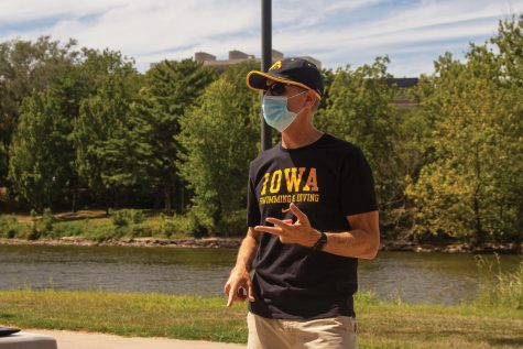Head Coach Marc Long speaks at the save swim meeting outside the IMU on Aug. 29, 2020.