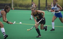 Iowa midfielder Nikki Freeman air dibbles during a field hockey game between Iowa and Duke at Grant Field on Sunday, September 15, 2019. The Hawkeyes were defeated by the Blue Devils, 2-1 after two overtime periods.