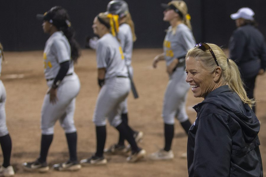 Iowa+Head+Coach+Renee+Gillespie+walks+to+join+the+team+during+an+Iowa+softball+game+against+Iowa+Central+at+Pearl+Field+on+Friday%2C+October+4%2C+2019.+The+Hawkeyes+defeated+the+Tritons+4-0+in+10+innings.+