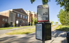 """Cambus stop 0125 for the IMU is seen on Monday, July 27, 2020. This stop is one of many that are deemed """"walkable"""" and are being closed for the Fall 2020 semester in response to COVID-19."""