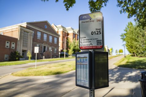 "Cambus stop 0125 for the IMU is seen on Monday, July 27, 2020. This stop is one of many that are deemed ""walkable"" and are being closed for the Fall 2020 semester in response to COVID-19."