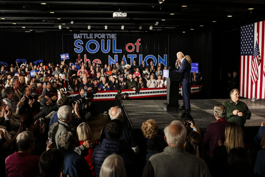 Former Vice President Joe Biden and Dr. Jill Biden speak during the watch party for Former Vice President Joe Biden at the Olmstead Center at Drake University on Monday, February 3, 2020. Hundreds of people attended the event to hear Biden speak on the results of the caucus.
